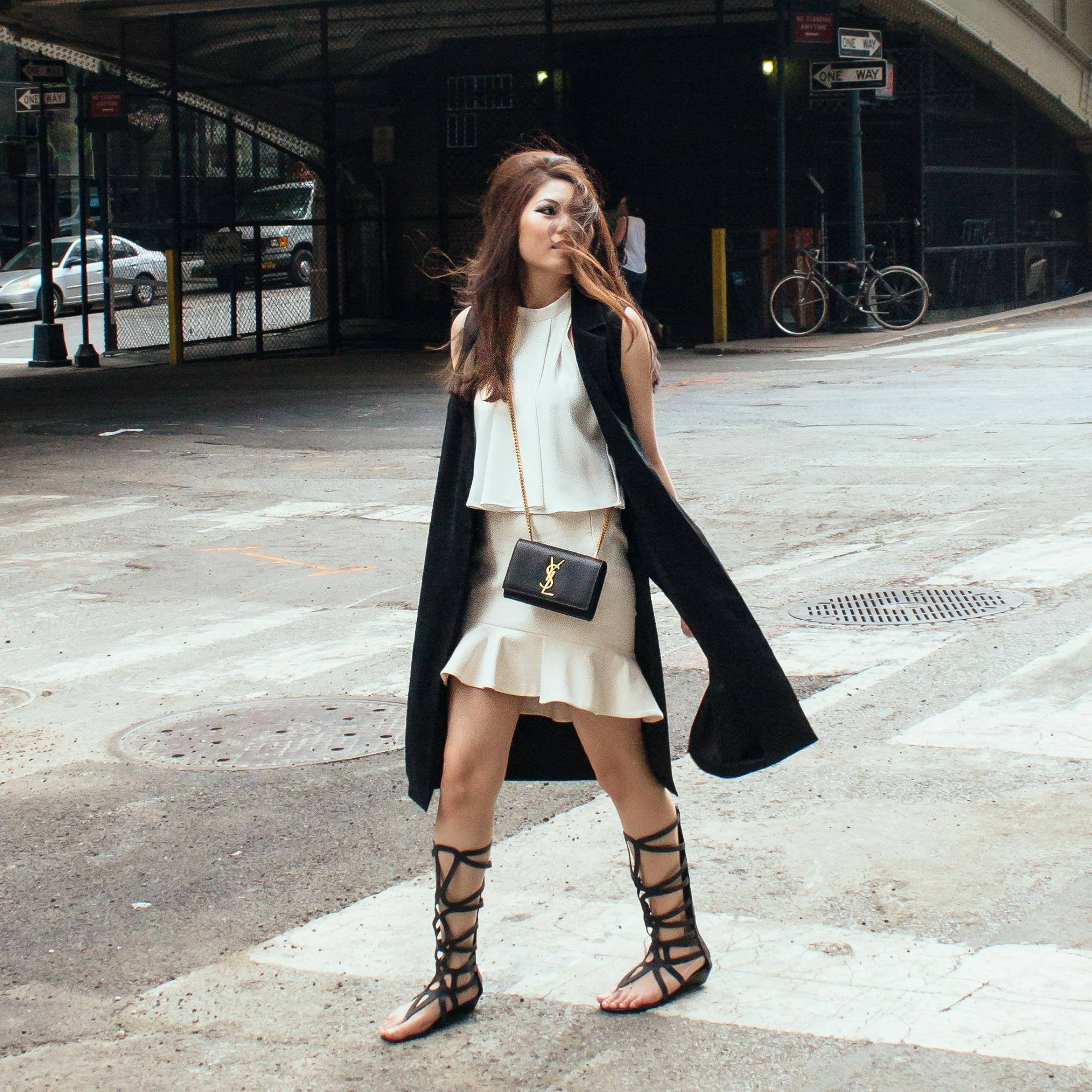 Saint Laurent Paris Crossbody Bag ( here ), Topshop Sleeveless Coat ( here ),Gladiator Sandals ( similar here )