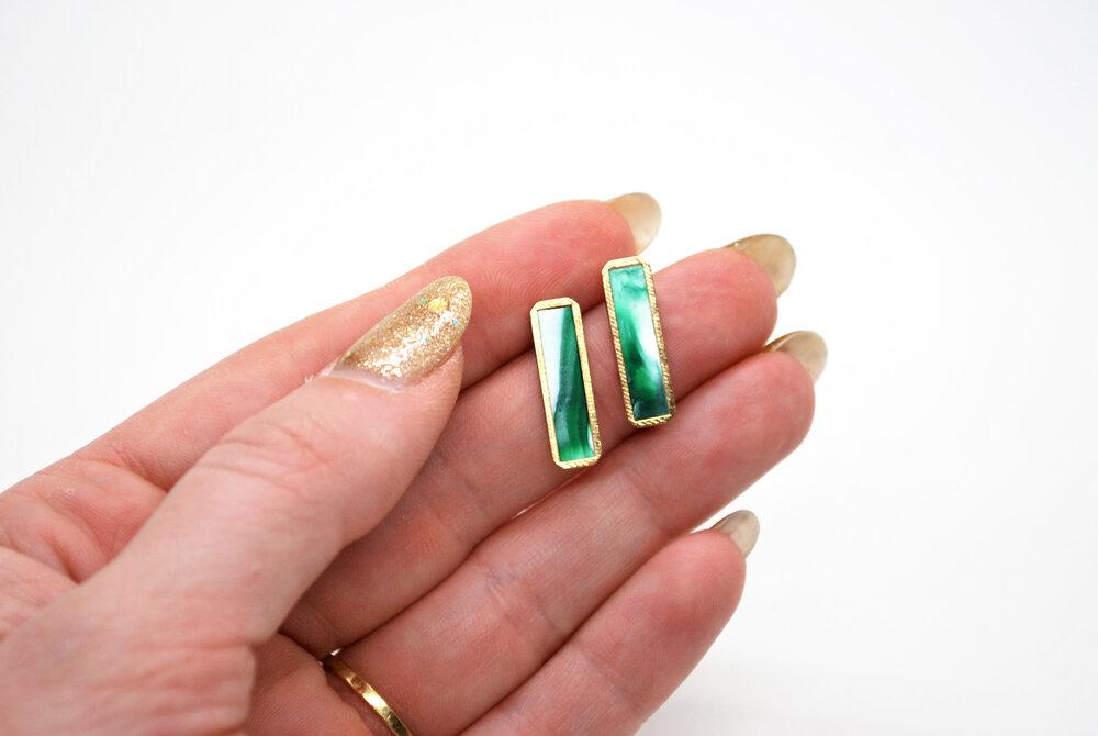 Forest Green Marble Gold Bar Earrings Minimal Jade Marble Geometric Earrings Marble Bar Stud Earring Set