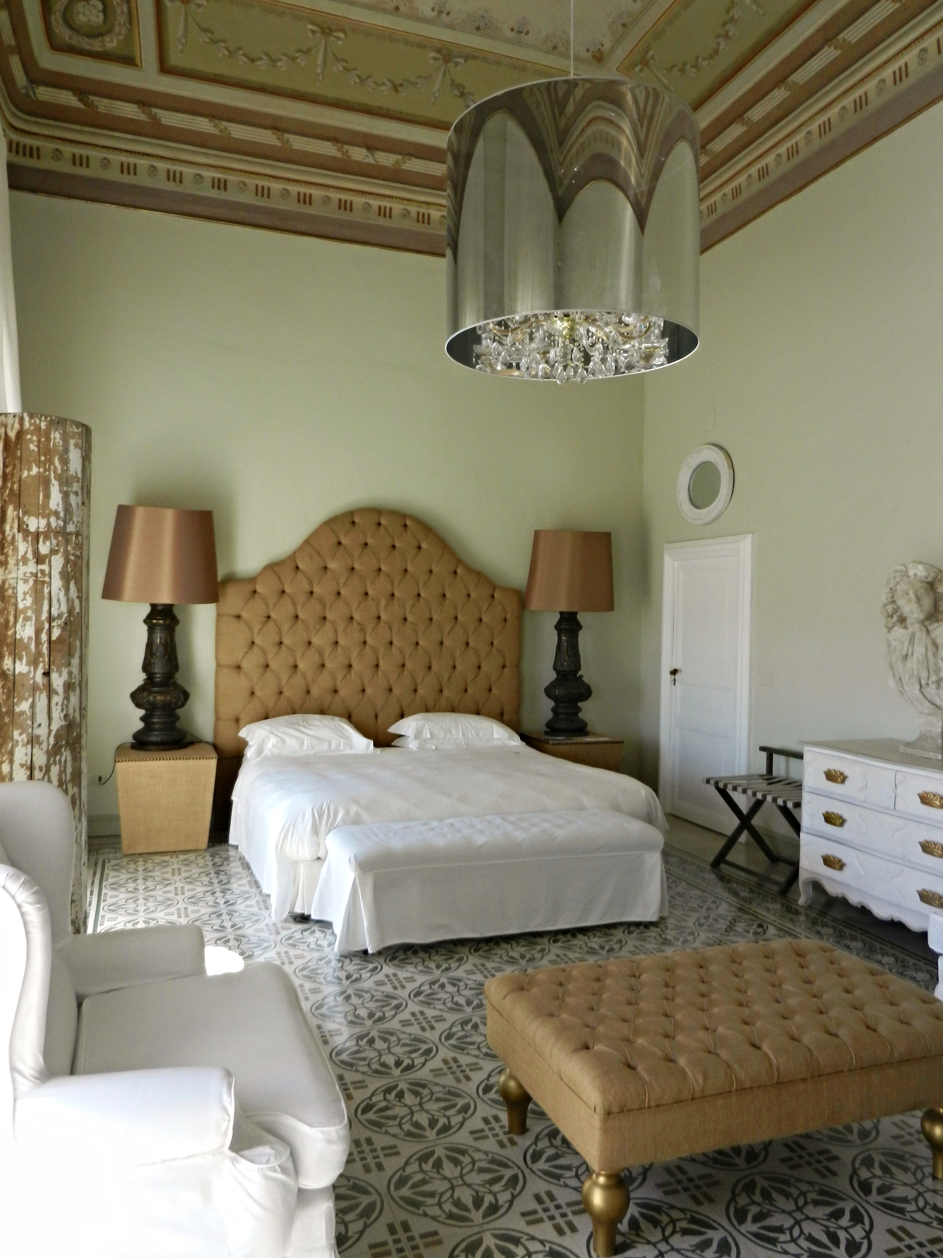 The former bedroom of a prince, at the Villadorata 7 Rooms, Noto, Sicily