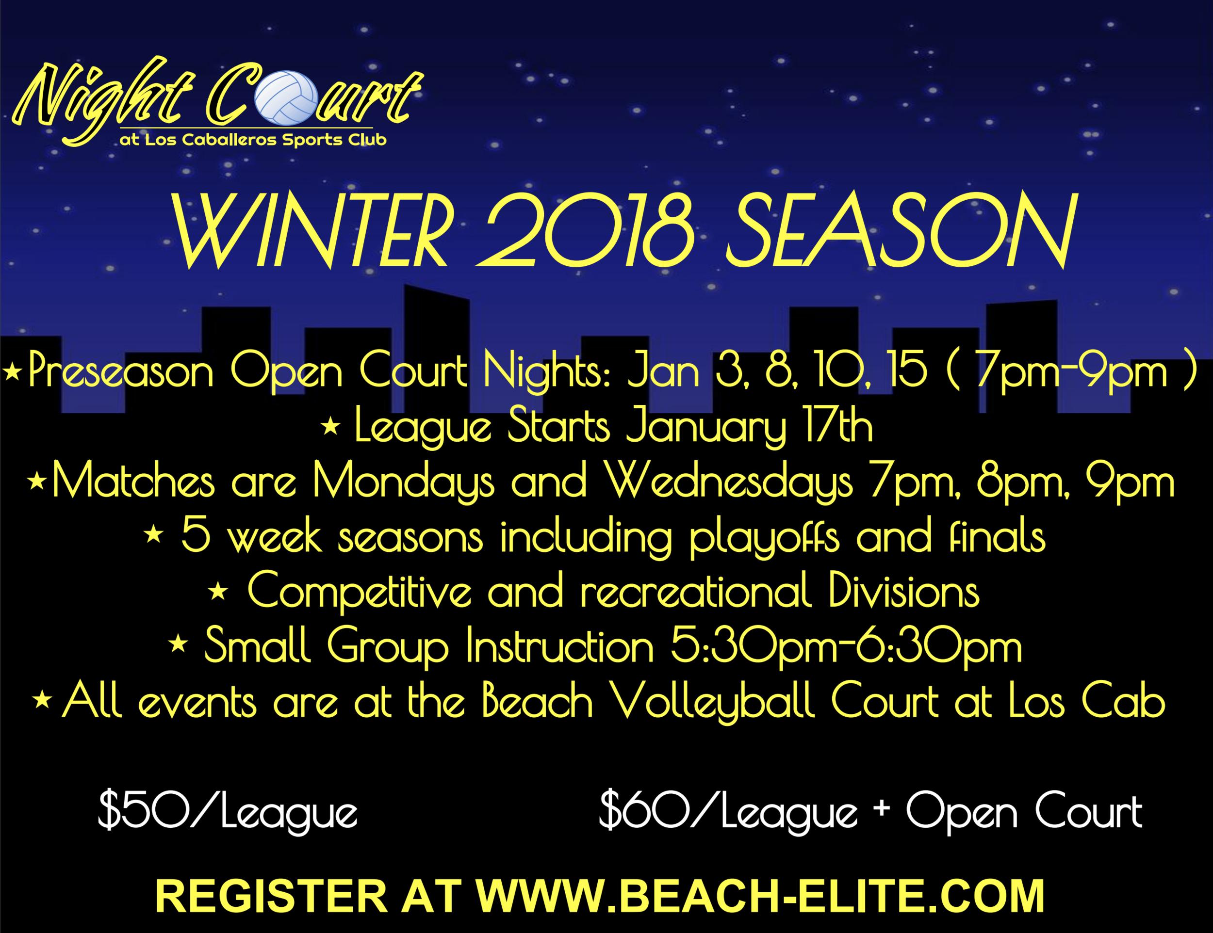 Adult Coed Night Beach Volleyball! - Season starts January 17th!