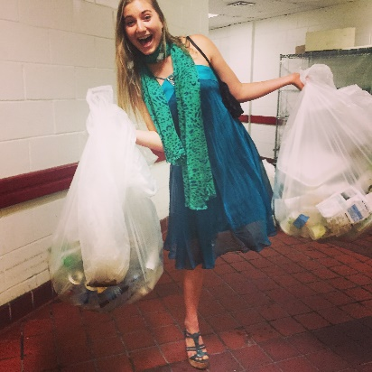 Leia Marsovich, the leader of the 2015 Millennium Awards Zero Waste Team, escorting our waste to its next engagement
