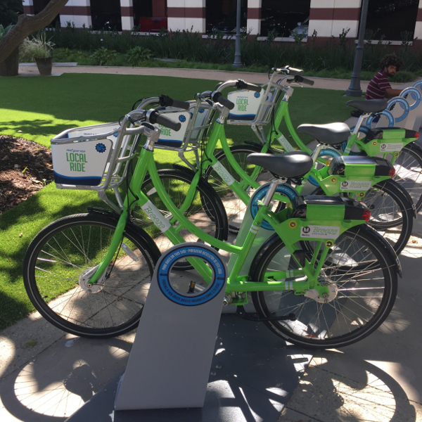 Breeze bikes at the UCLA Medical Center station on the corner of Arizona Ave. and 16th Street