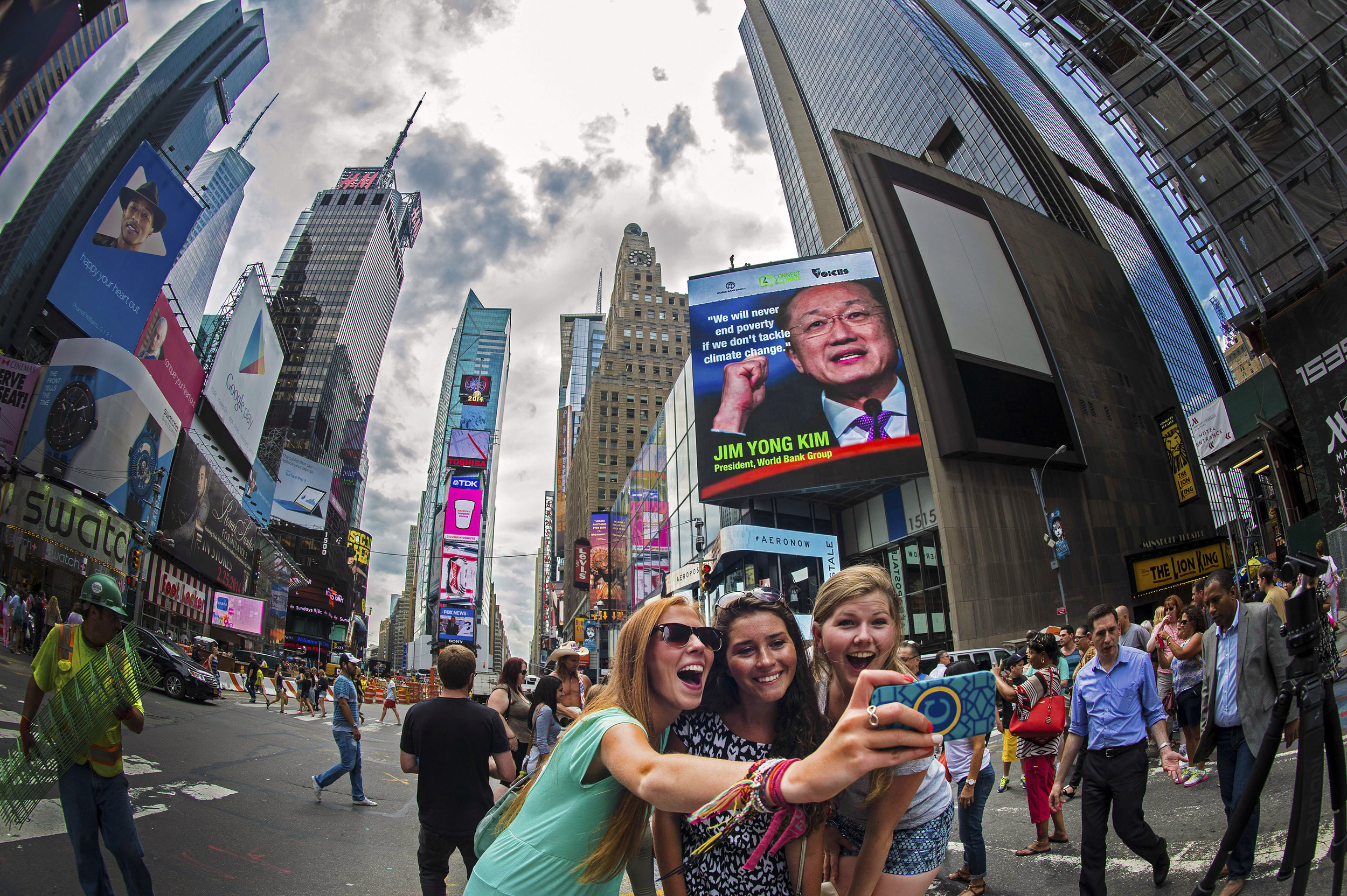Take a selfie on Times Square with the #Action4Climate Trailer. Credit: Leigh Vogel