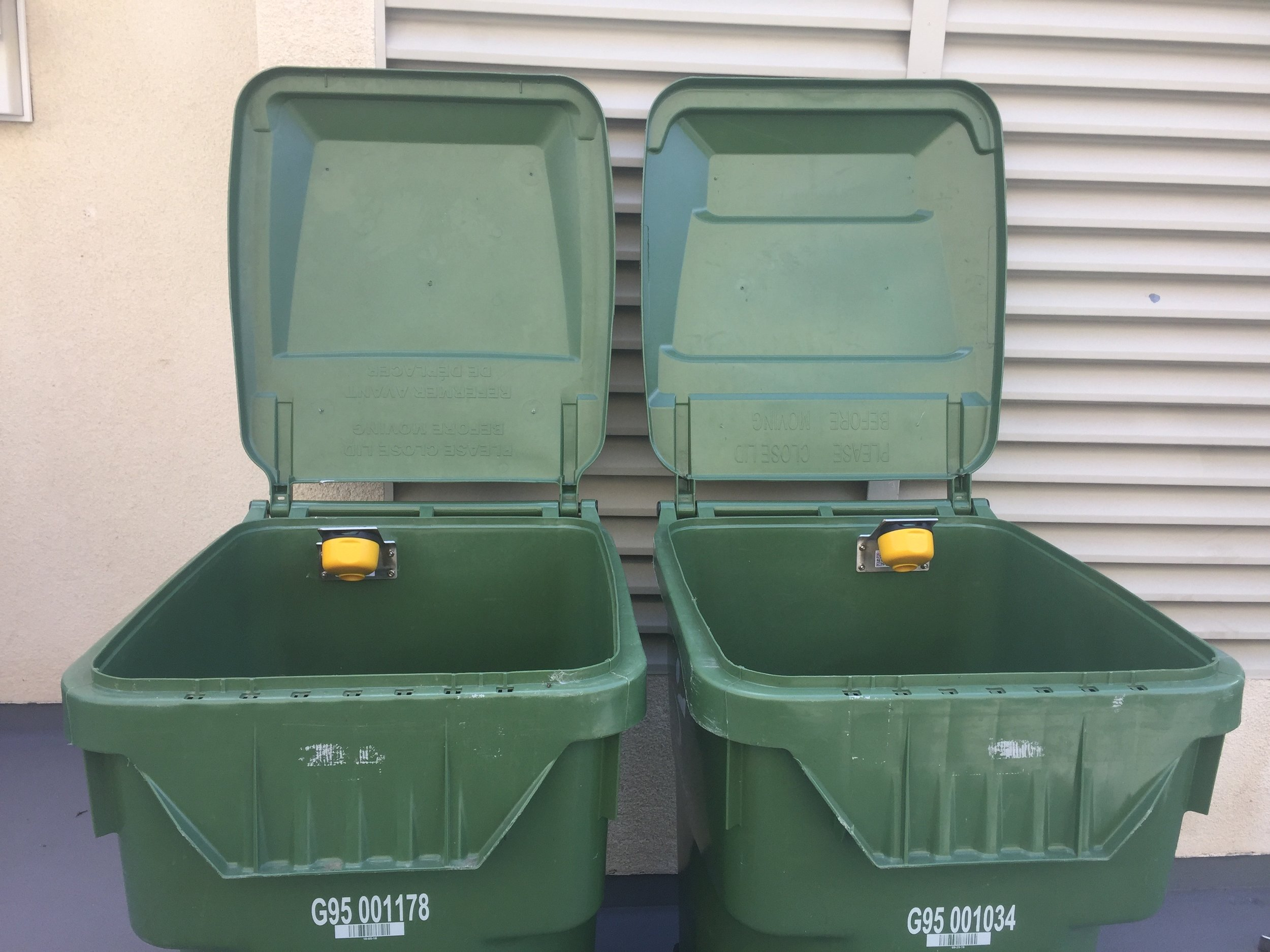 Figure 5: Remote sensors installed on organics carts at Santa Monica apartment building.