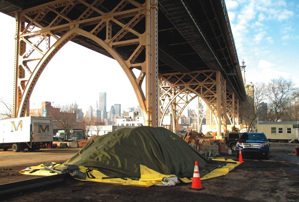 Figure 3: Composting system underneath the Queensborough Bridge (New York, NY)  Image credit: BioCycle.net