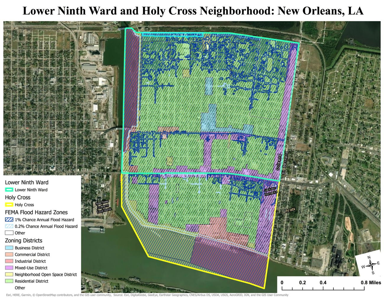 Esri ArcGIS Pro, City of New Orleans, FEMA, USGS, Scale: 1:21,500
