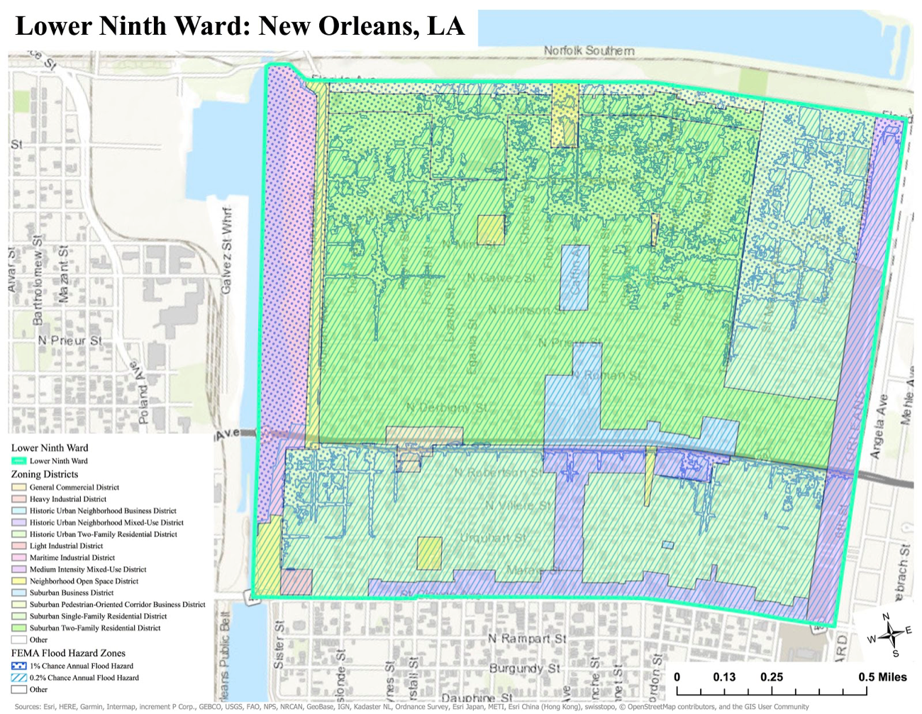 Esri ArcGIS Pro, City of New Orleans, FEMA, USGS, Scale: 1:17,000