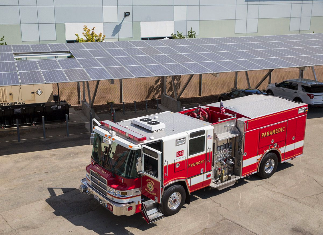 Microgrid by Gridscape Solutions at Fremont, California fire station; Image from the California Energy Commission.