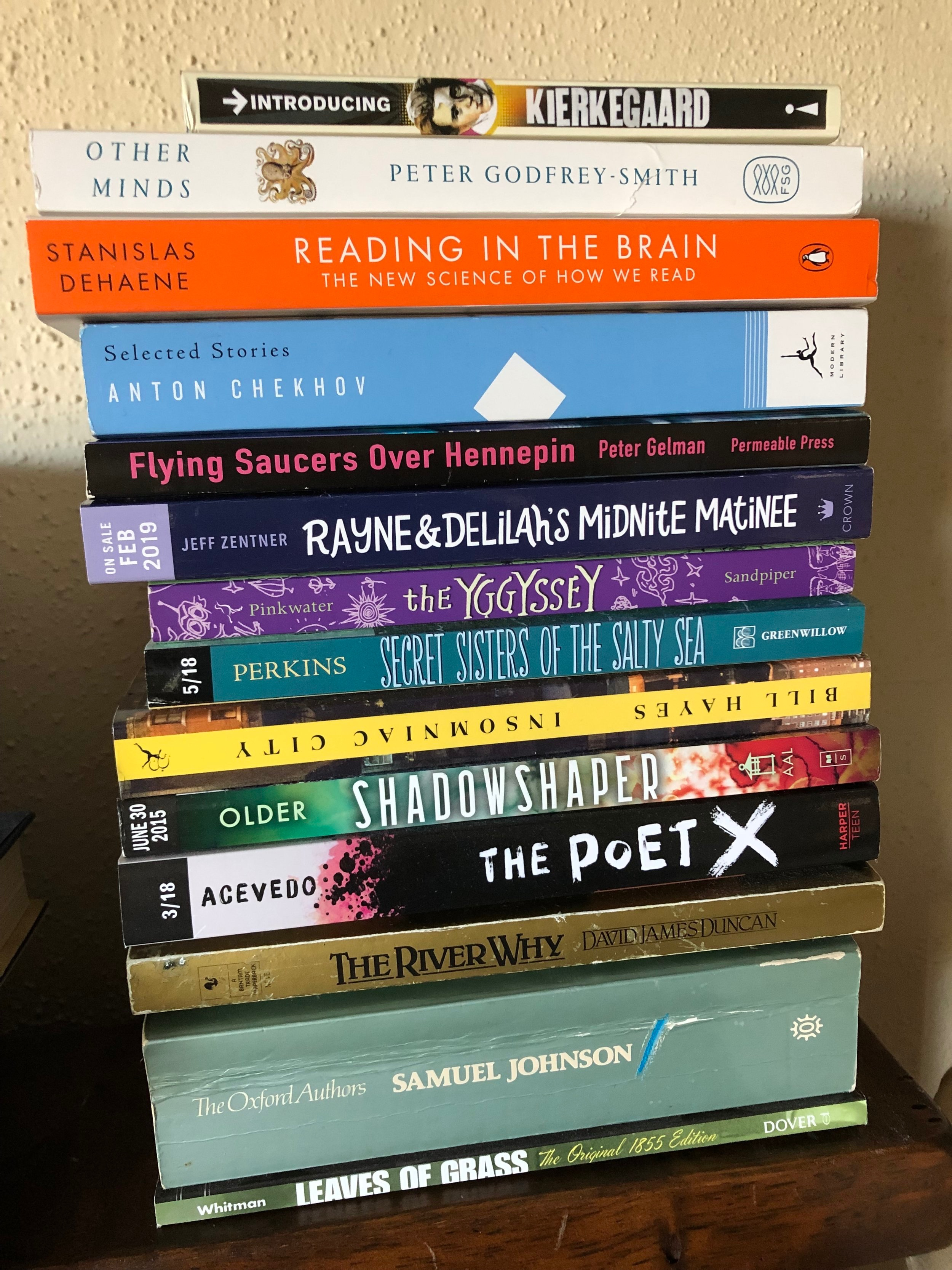 These are the books that will injure me when the Earth trembles.