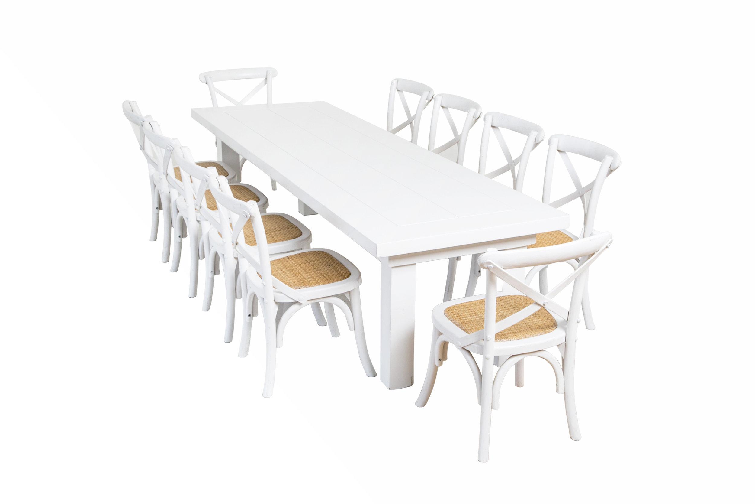 silla crossback infantil + mesa blanca infantil