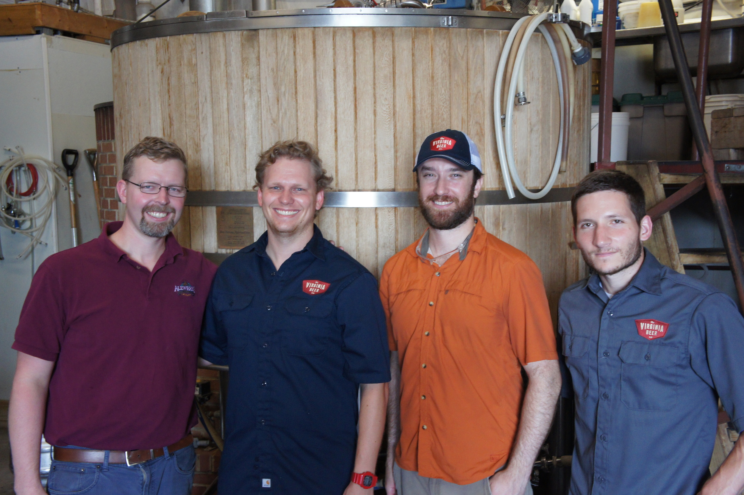 Pictured (from left to right): Geoff Logan, Brewmaster, Alewerks Brewing Company; Robby Willey, Co-Founder, The Virginia Beer Company; Jonathan Newman, Brewmaster, The Virginia Beer Company; and Chris Smith, Co-Founder, The Virginia Beer Company.