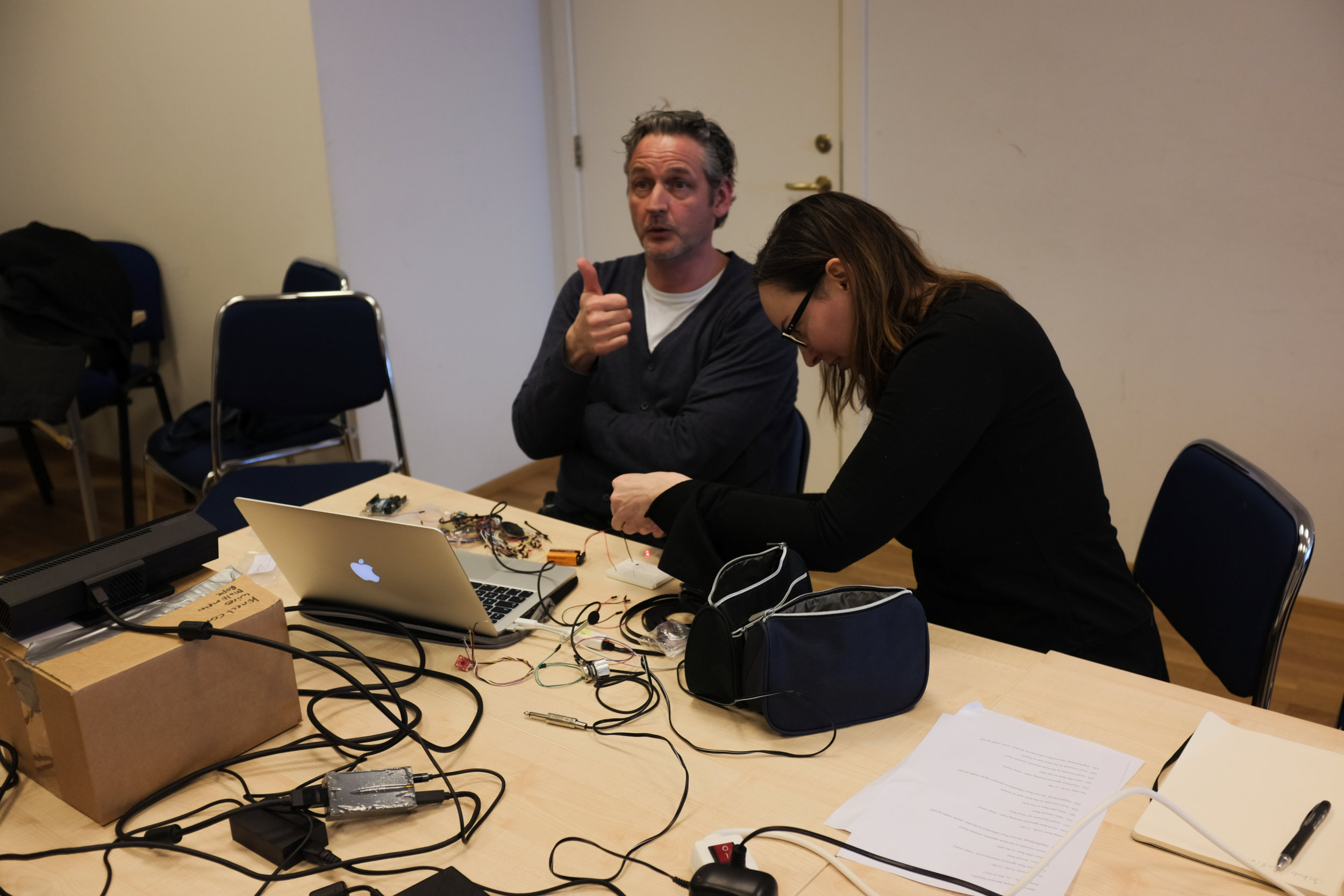 The makeshift NAIP 'tech lab' with our mentor/expert Lex van den Broek (Royal Conservatoire The Hague).