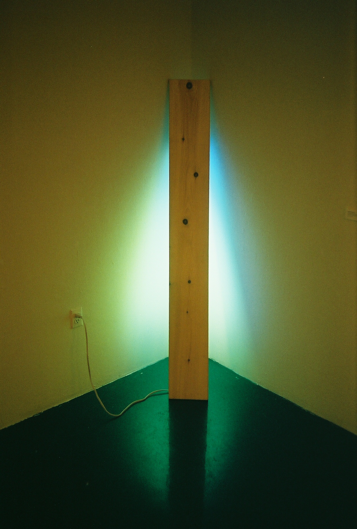 Sarah Rohlfing /  Green/Blue Light in Corner, 2015  / Wood and Fluorescent Fixture / 72 in x 12 in