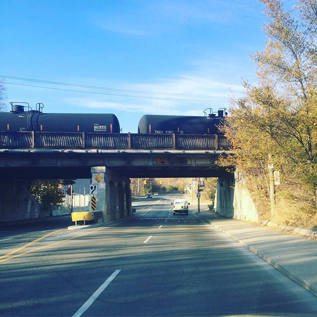 Oil by rail in outdated tank cars rolls across Toronto's Mt. Pleasant bridge earlier today...just feet away from houses and schools. Tell your MP this needs to stop. Visit our website for more info and a letter you can download.