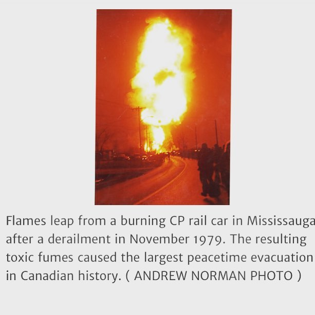 "Discussion topic: This could still happen. Canadians who live or work within 5Km of the rails really aren't  much safer than they were in 1979.... consider this excerpt and tell us how well you'll sleep tonight: ""explosions sent shock waves 50 kilometres and flames reached 40-storey heights, yellow clouds of chlorine gas – the stuff that killed thousands of soldiers in the First World War – belched into the air."" Via @thetorontostar"