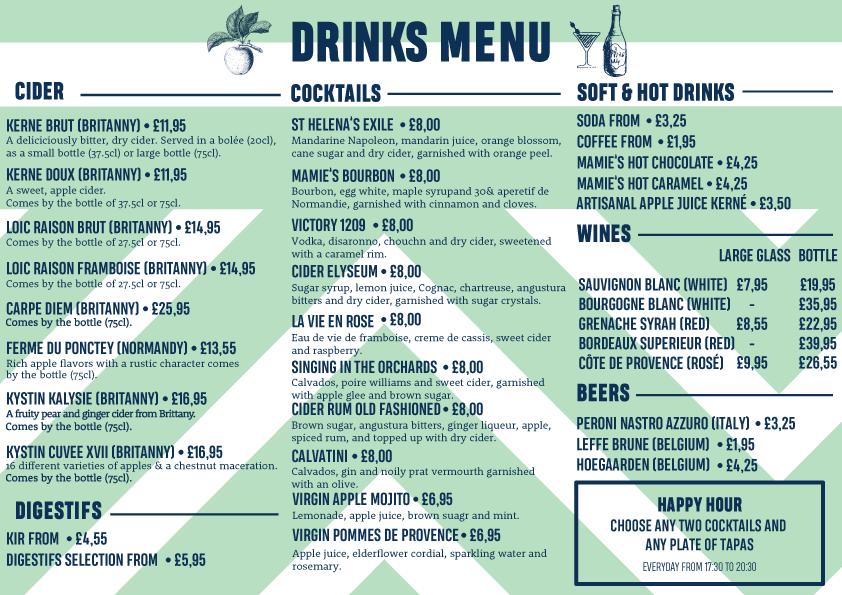 drinks menu mamies london cocktails cider wine