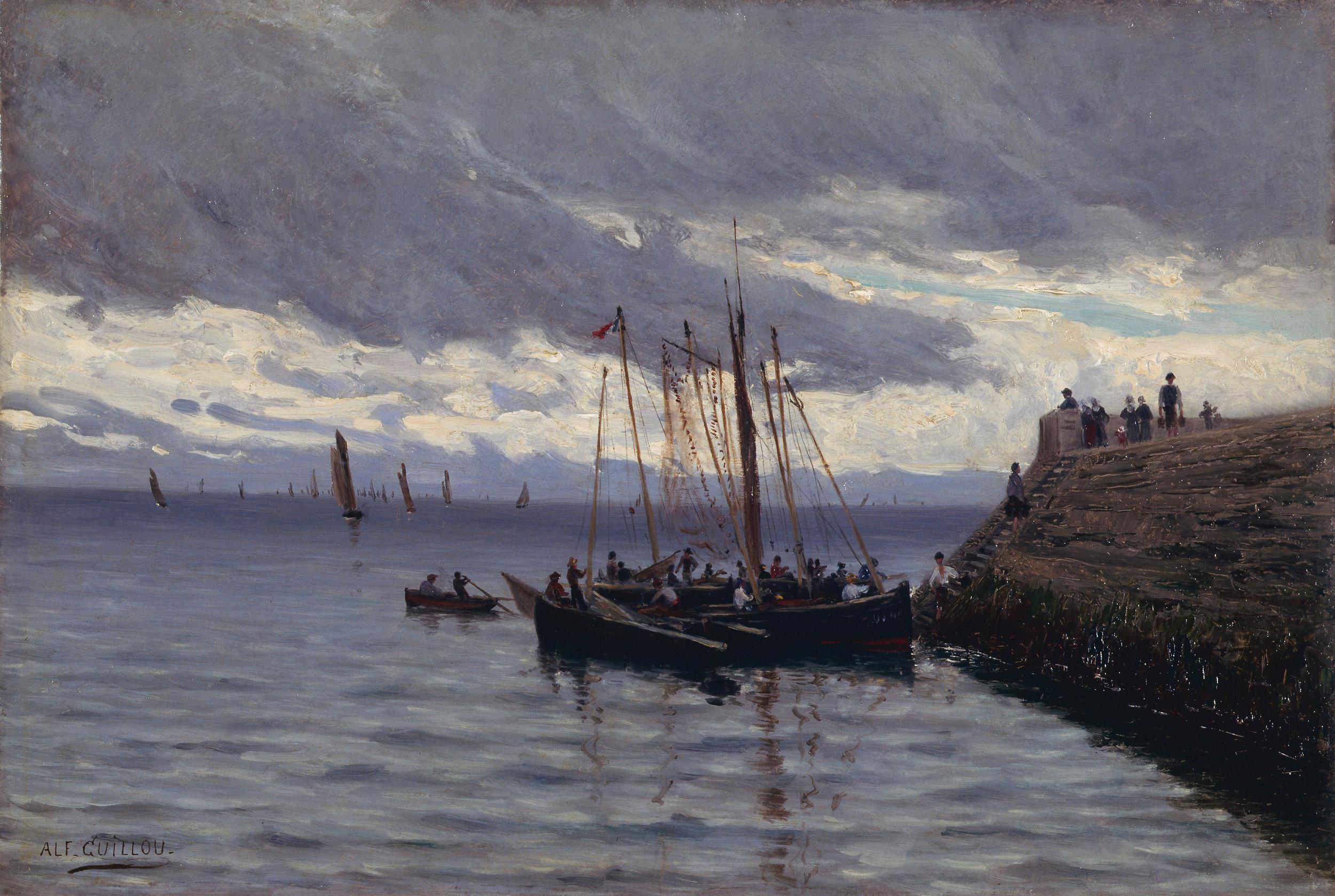 Arrive�e_des_pêcheurs_de_sardines_-_Alfred_Guillou_-_muse�e_d'art_et_d'histoire_de_Saint-Brieuc