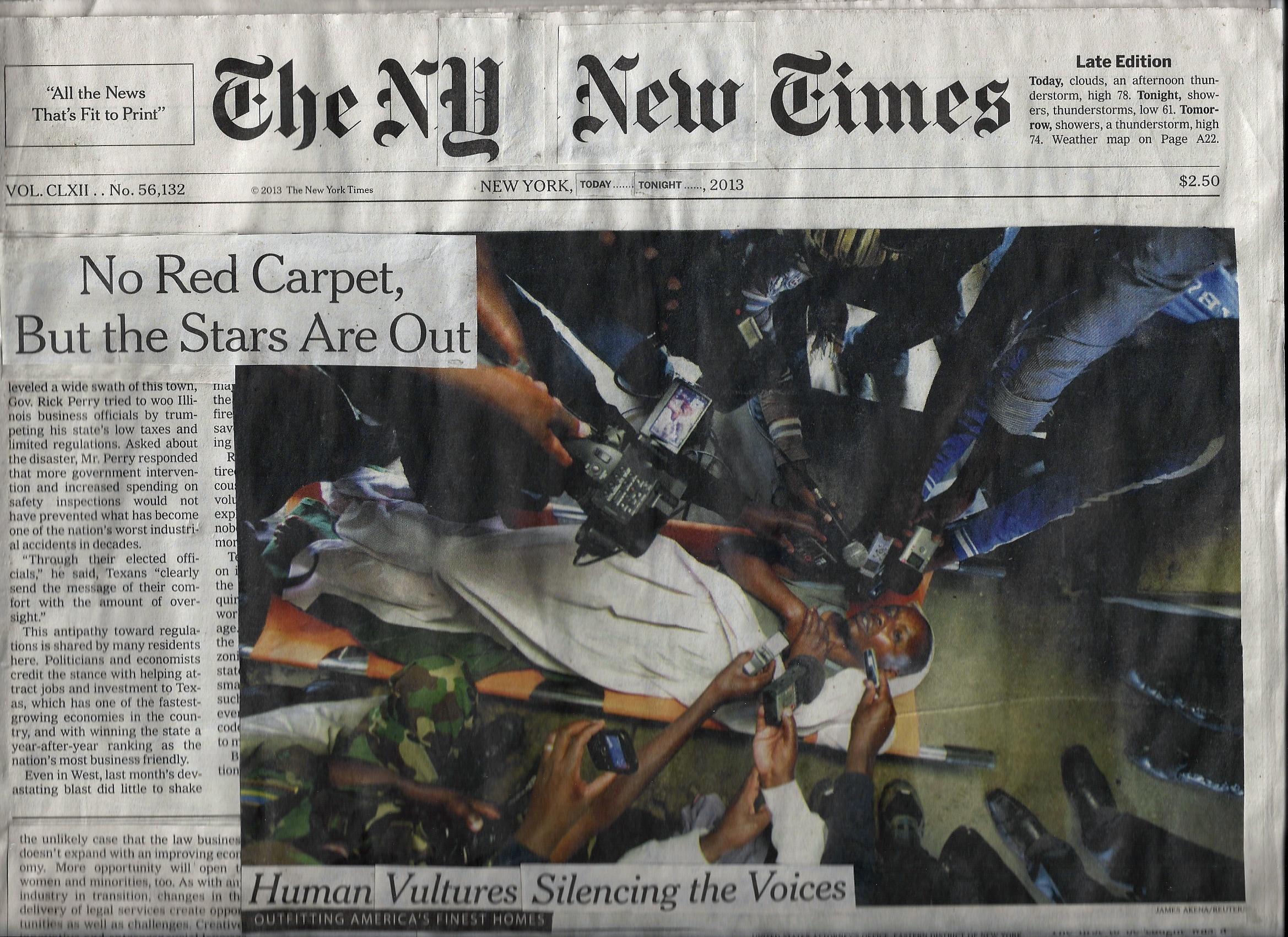 """Newspaper, glue 24"""" x 24"""""""