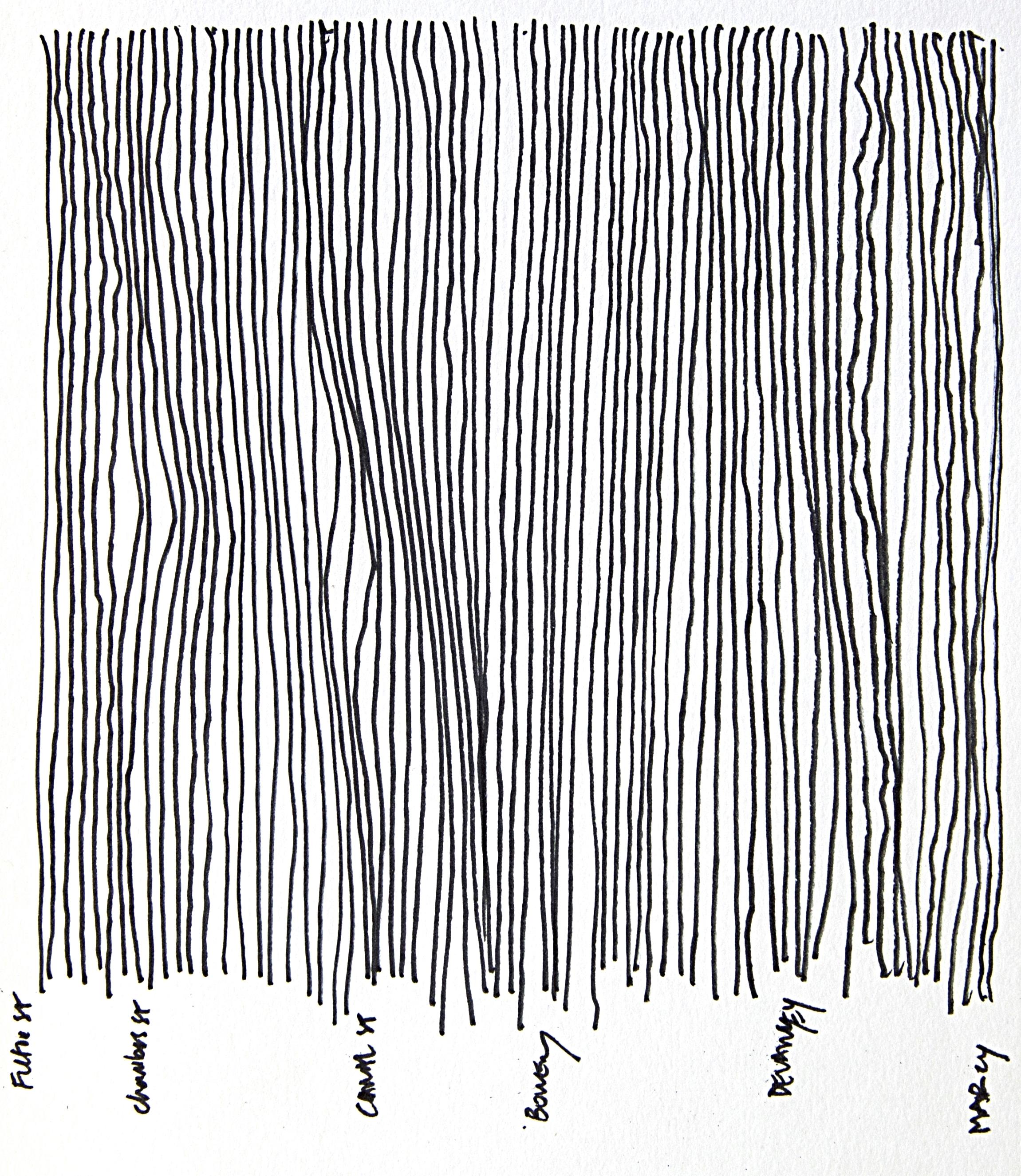 "J Train (Fulton St to Marcy Av)  Ink on paper, 5"" x 8"", 2015"
