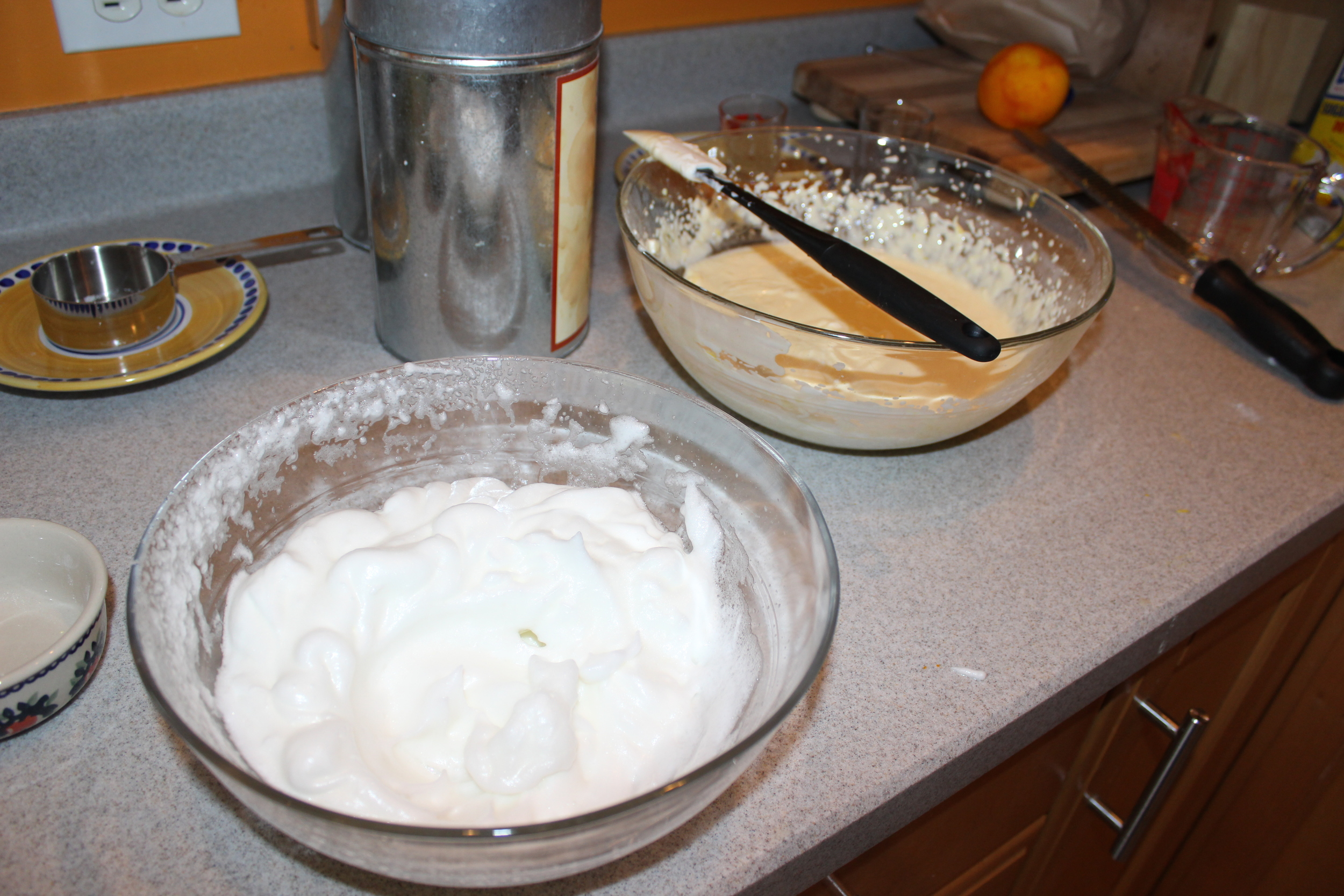 Pour into a round (preferably non-stick) 9 inch baking tin greased with butter. Bake at 350° for 50 to 60 minutes until brown. It will puff up and then fall (don't be alarmed).