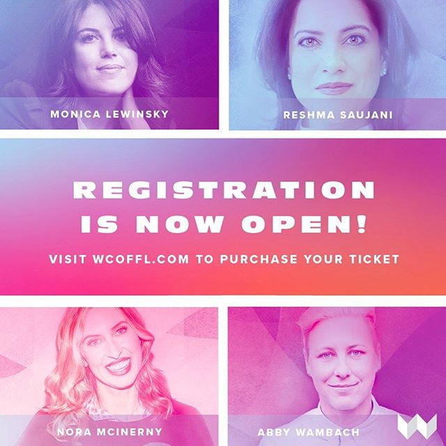 🎉🙌 Registration is NOW OPEN for the #WCofFL2019! This year, our conference will feature: Monica Lewinsky, @reshmasaujani, @noraborealis, and @abbywambach. These diverse speakers will share their unique, provoking stories to help promote women and enable progress in the workplace and society. Don't miss out! Visit our website for all the latest news and updates, and to purchase your ticket!! 🎉🙌 #provoke #promote #progress