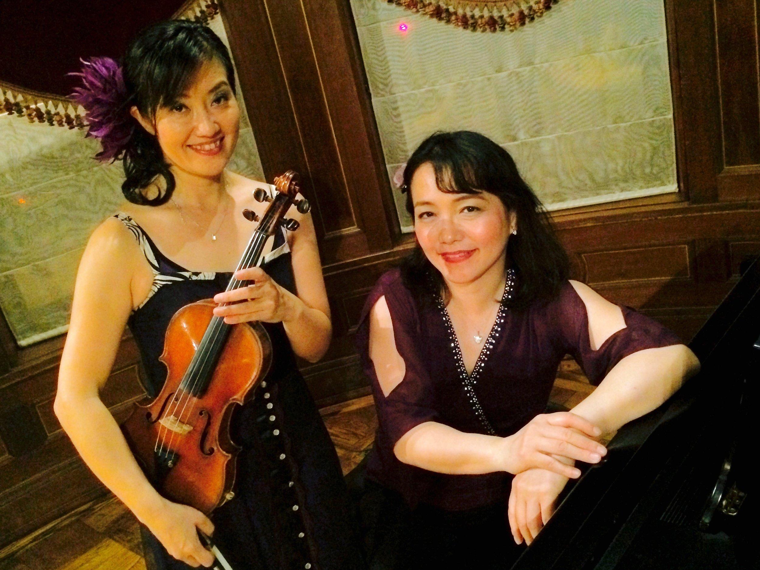 Machiko Ozawa and Ayako Shirasaki after the performance at Turkish Ambassador's Residence in DC in May, 2016