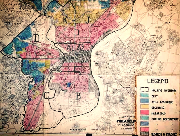 Redlining map Philadelphia, from the Home Owner's Loan Corporation