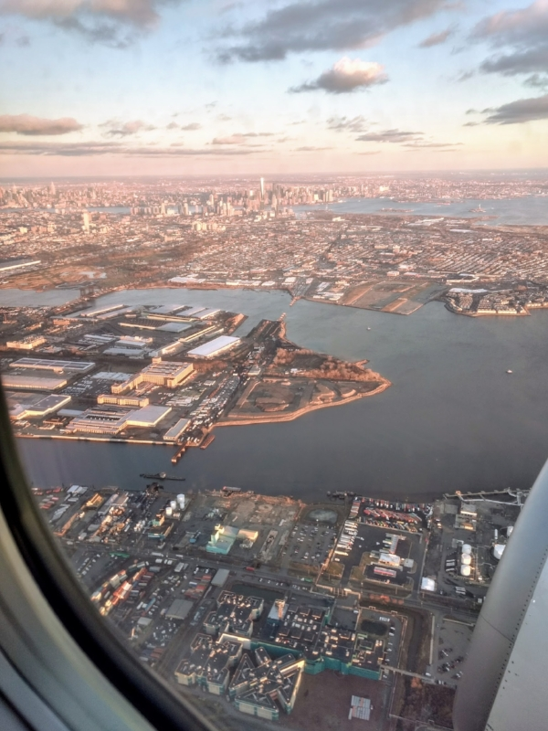 NYC in the distance from Alaska Air Flight 11 on Wednesday, January 24
