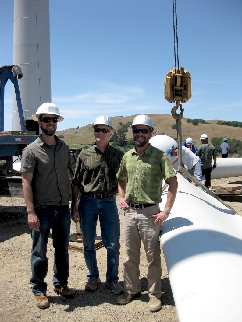 Brent Johnson, Tom Williard and David Williard at the construction of a wind turbine at McEvoy Ranch in 2009.