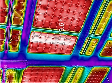 Thermal imagery of elevated PV cell temperatures.