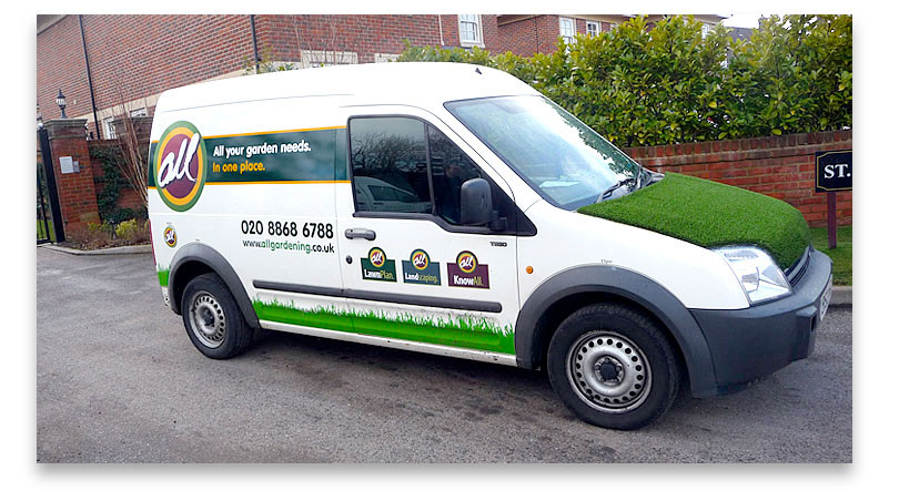 Our vans are easy to spot #allyourlawnneeds