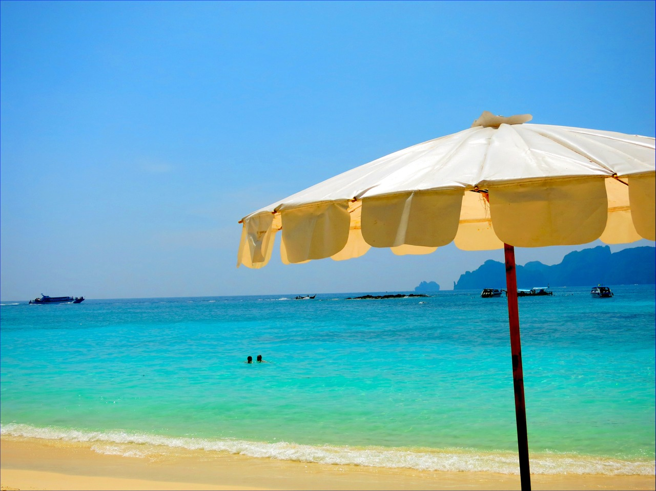 Long beach, Koh Phi Phi Don. Come here to snorkel with sharks.