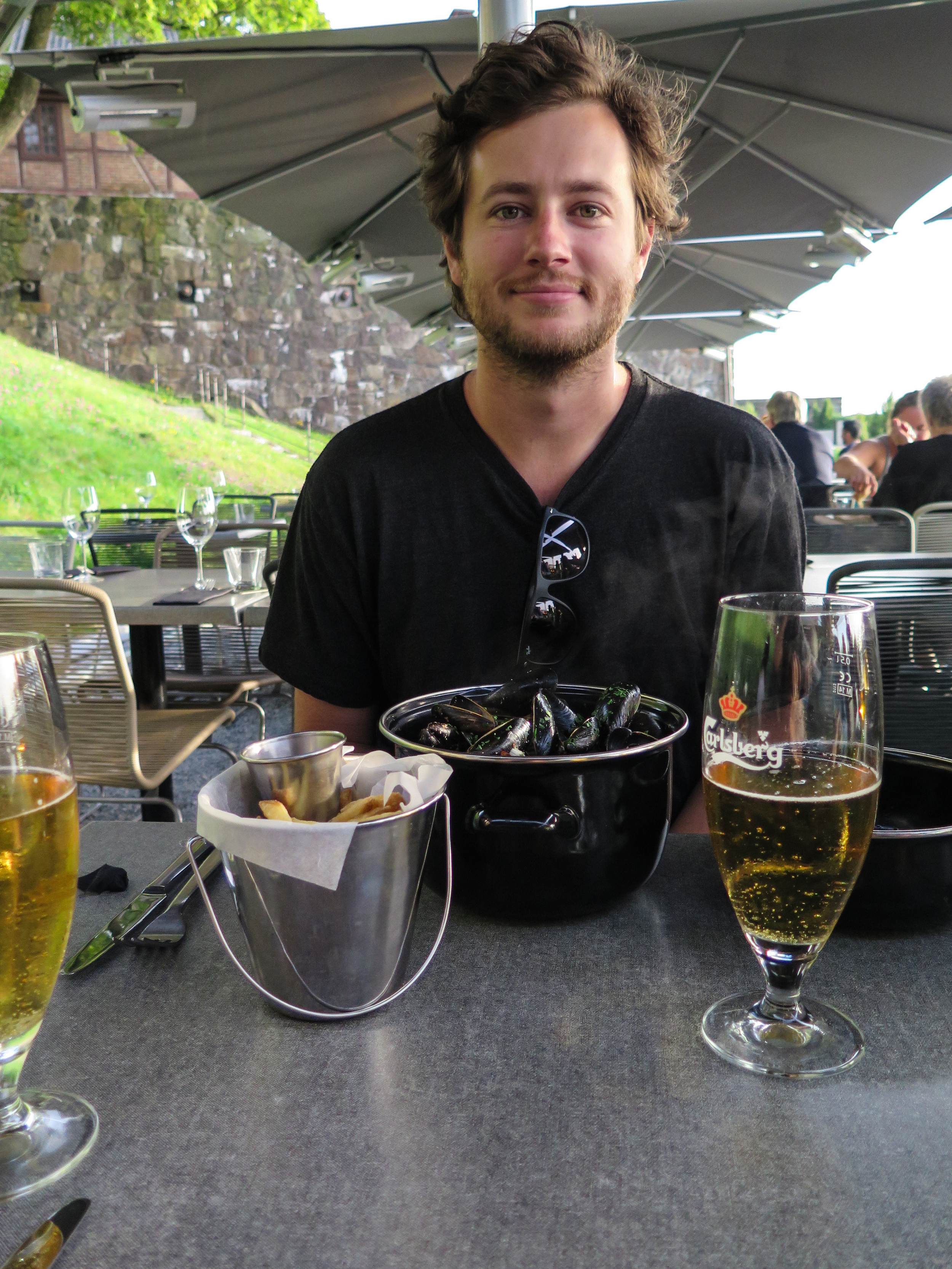 Our first meal in Norway. Mussels and beer.