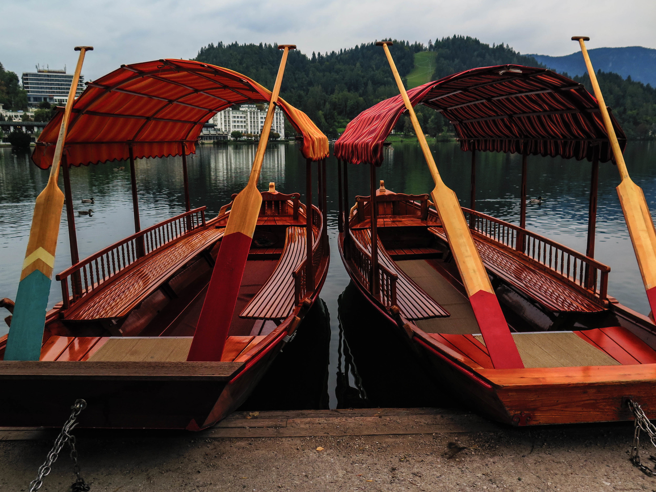 Traditional boats especially designed in Lake Bled and rowed by local men