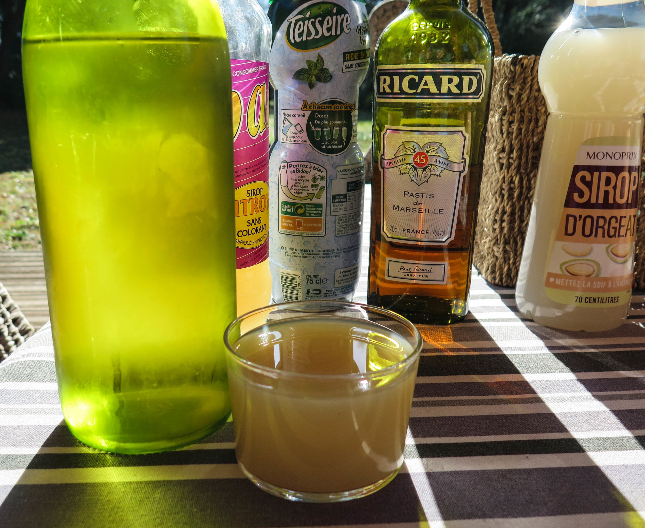 Pastis is a French aperitif that originated in Marseille. In Provence it is also common to drink water with a small amount of flavored syrup in the bottom of the glass. Our favorite was almond flavor with sparkling water.