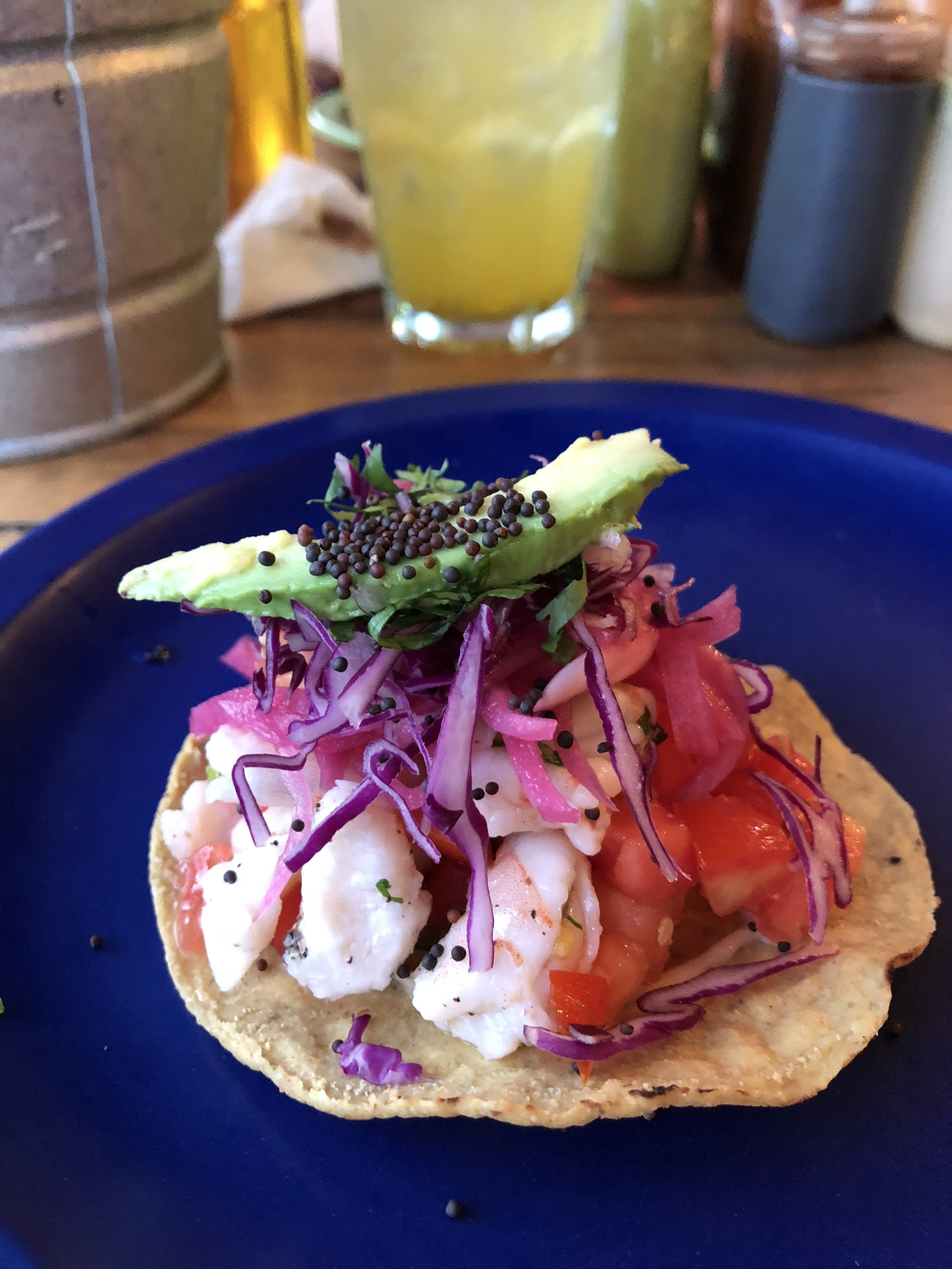 Ceviche tostada at Los Aguachilies