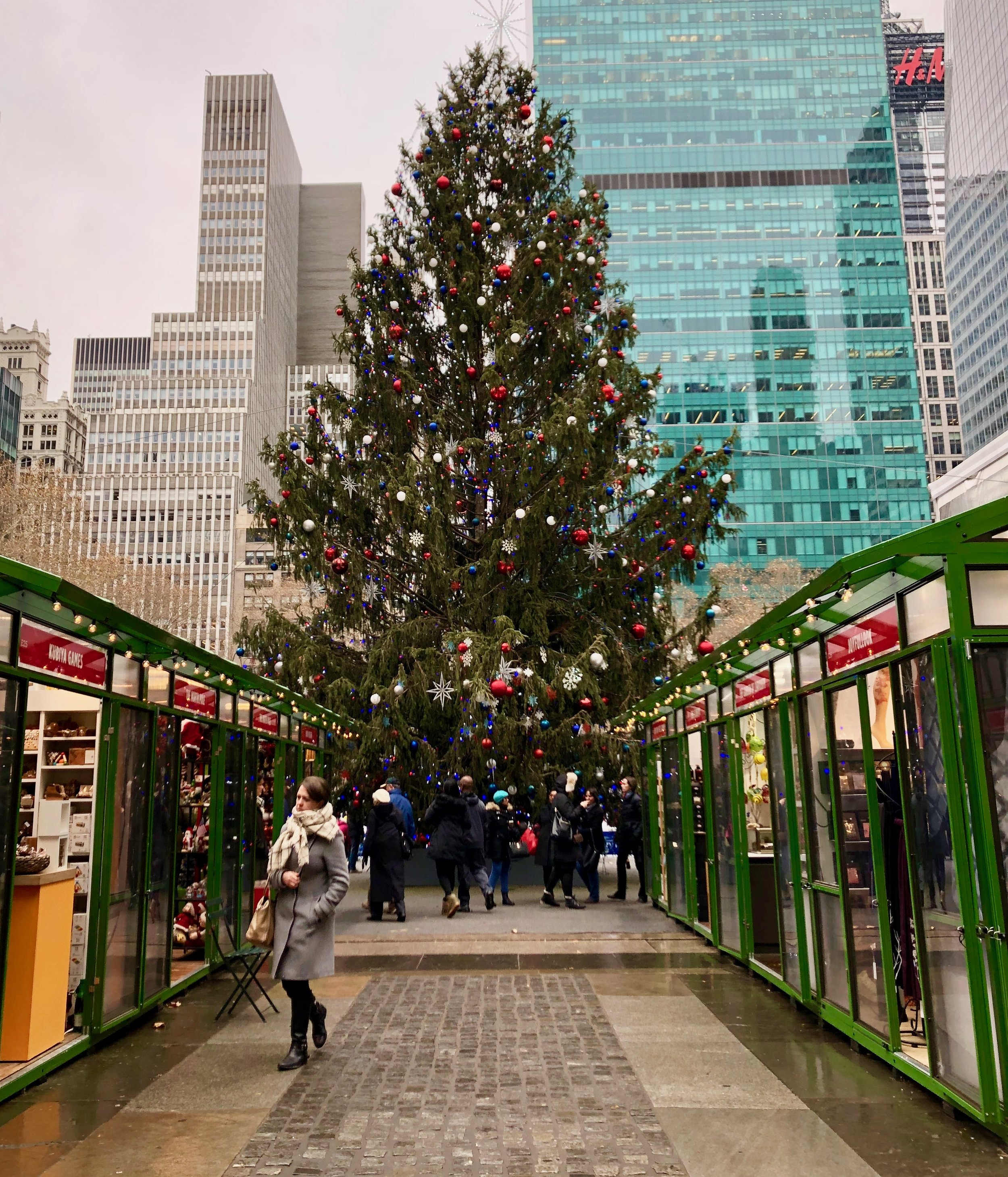 The stalls at the Bryant Park Holiday Market.