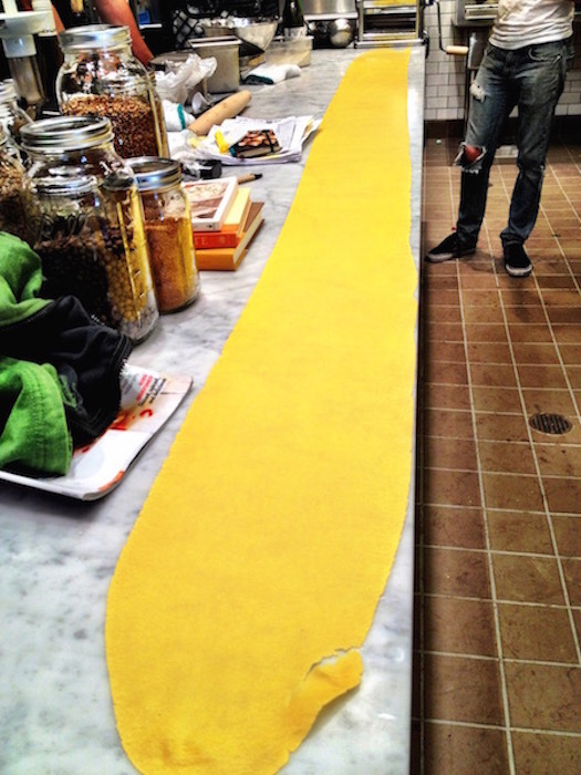 Before we opened the kitchen at Mill Valley Beerworks, we tried to roll the longest pasta on the planet..