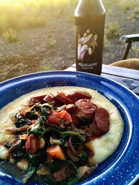 "Elk sausage over polenta...with Polygamy Porter: ""Why have just one?"""