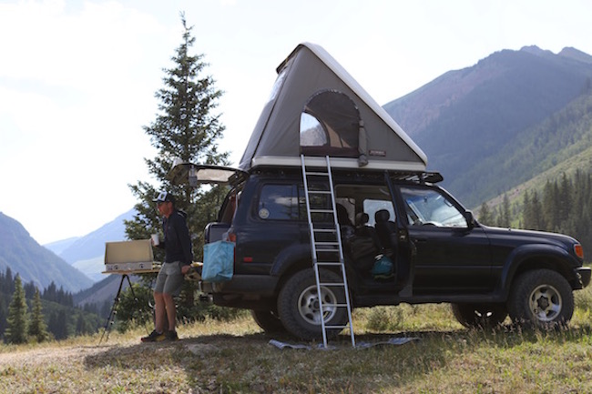 Man and rig. Also check the crafty tripod stove table he made for this trip...