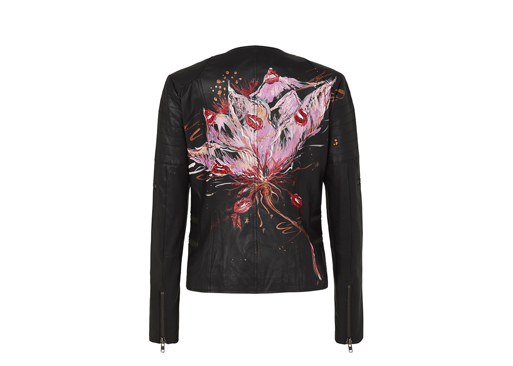 West 14th X Anouk GREENWICH STREET MOTOR JACKET BLACK LEATHER 'PASHIFLORA'
