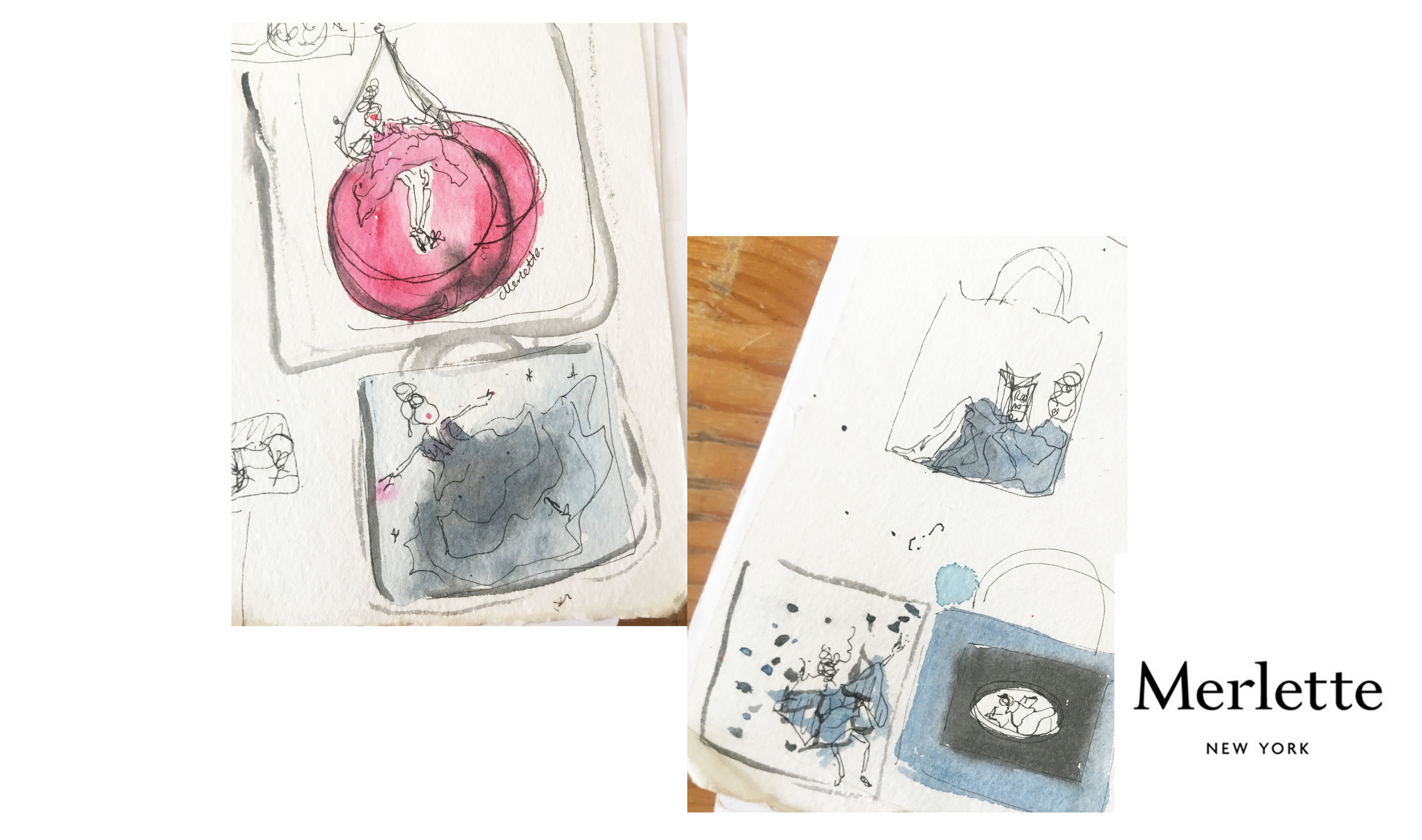 Development sketches for cotton tote