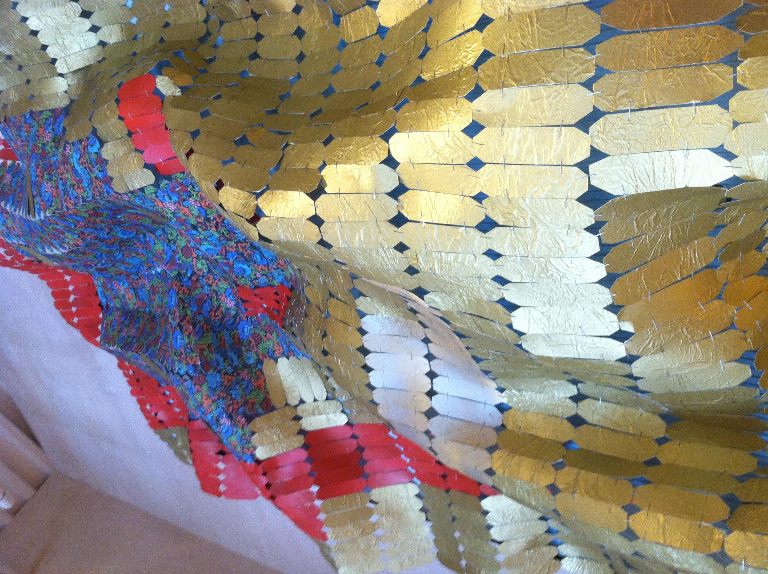 cardstock, tissue paper, staples, fabric, spray paint