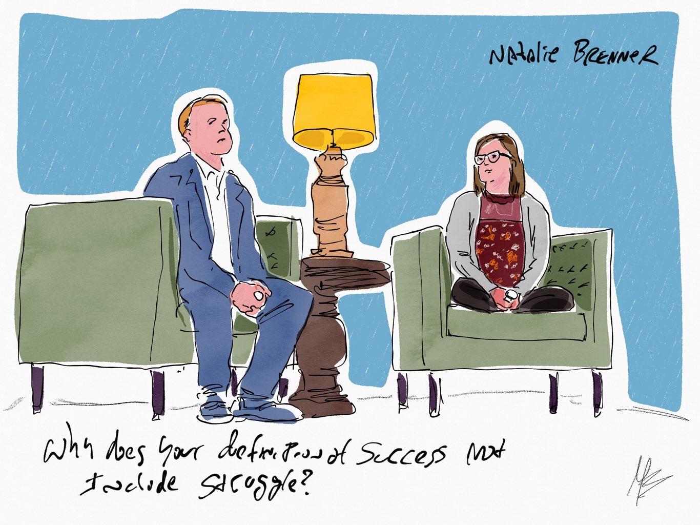Live Sketch during Jeff's interview of Natalie Brenner.