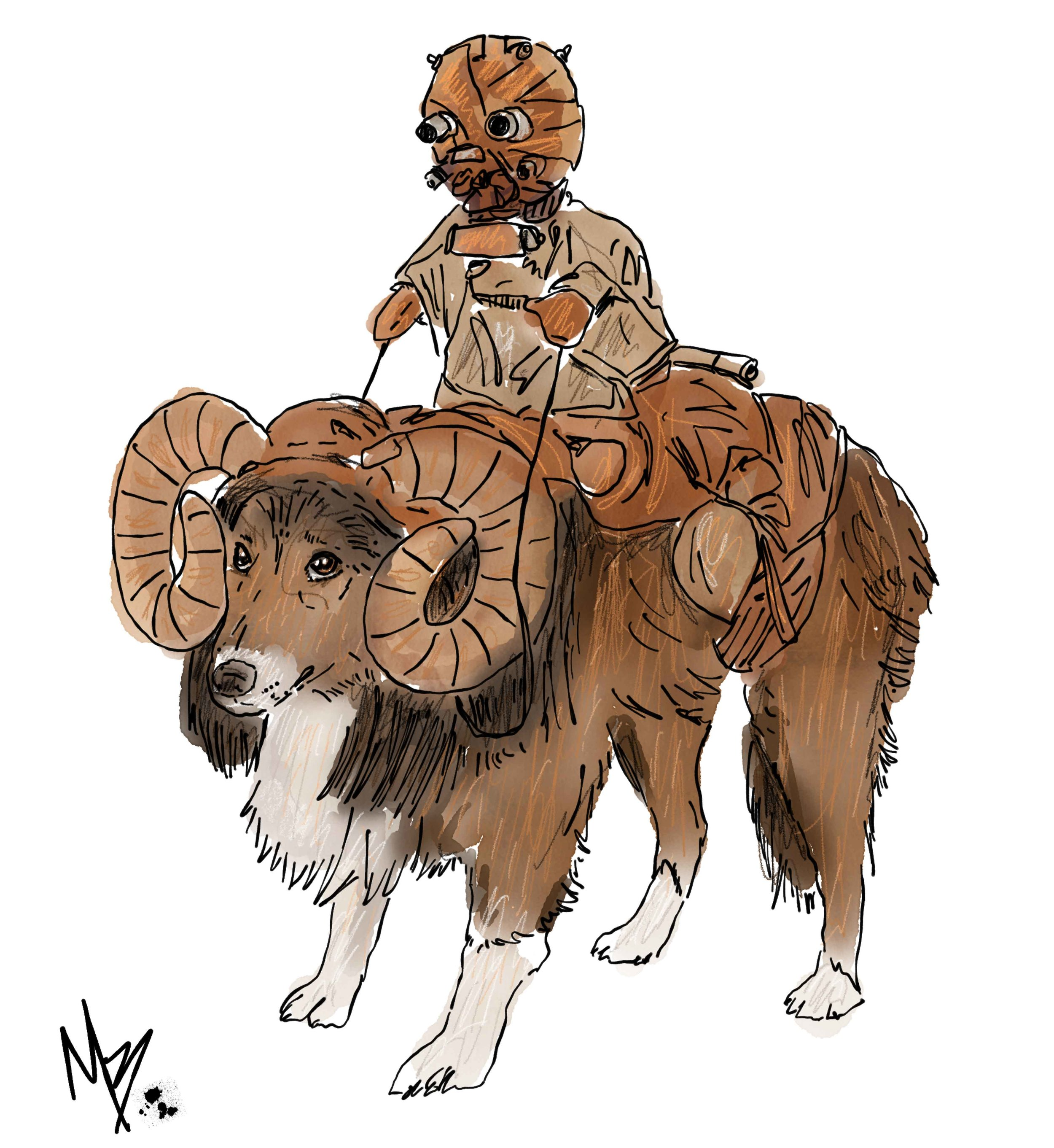 Who wouldn't want to dress their dog up as a Bantha complete with Tuscan Raider? (If you're not a Star Wars nerd, this might be over your head...)