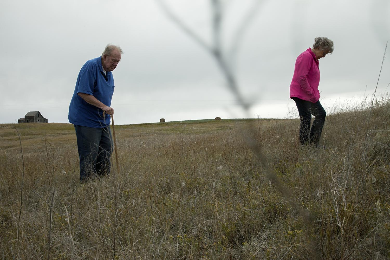 Morrene and Melvin Wisdahl on her family's virgin prairie  Wildrose, ND. 2012
