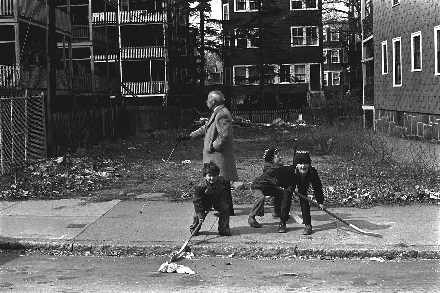Boys with sticks  Dorchester, MA.  1975