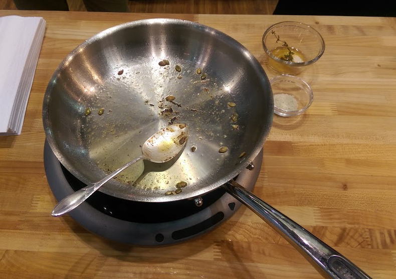 The Hestan Cue induction burner and Bluetooth-connected pan (post seared salmon)