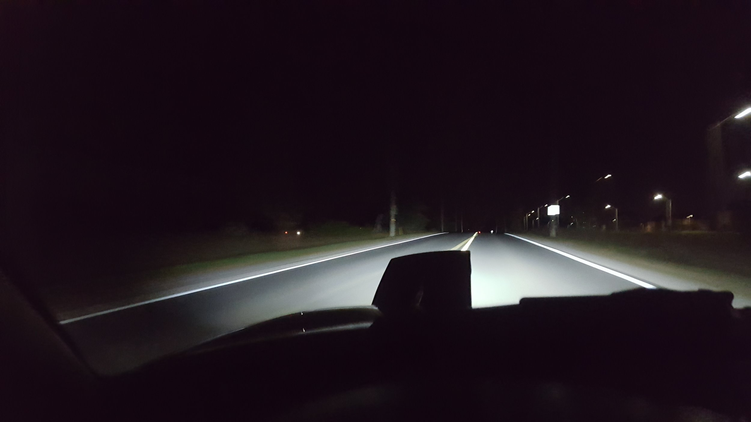 Sides of the road are better illuminated with the new LED bulbs.