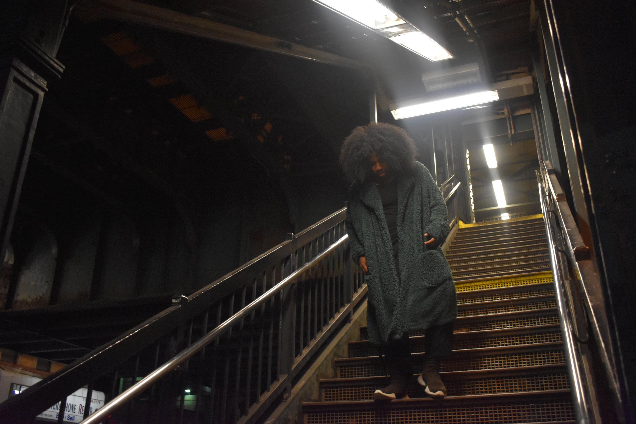 Teddy Bear Overcoat | Asos// Circle Hem Tee | U.O.// Ribbon Trousers | Reclaimed Vintage// Sneaker Boots | Rick Owens x Adidas